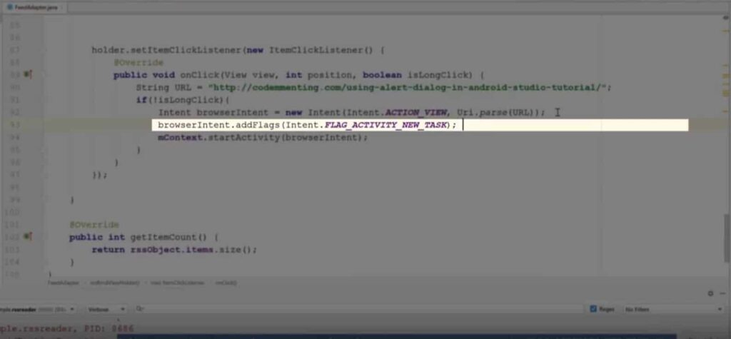 Android Studio: Solving Calling startActivity() from outside of an Activity context issue