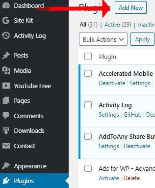 Add New Plugin screen in WordPress