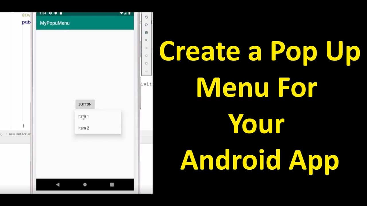 Android Studio: How to Create a Pop Up Menu for Android App