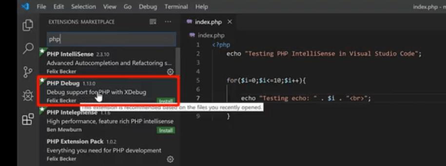 php debug visual studio code extension