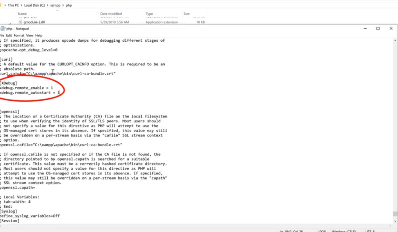 xdebug in php.ini file