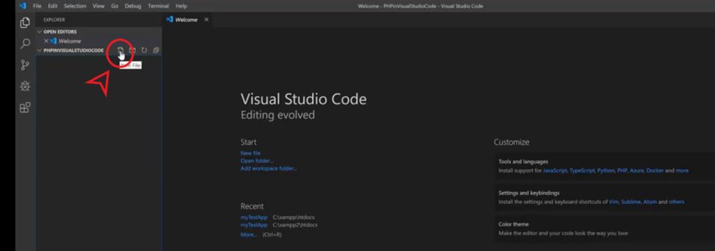 create new php file in visual studio code