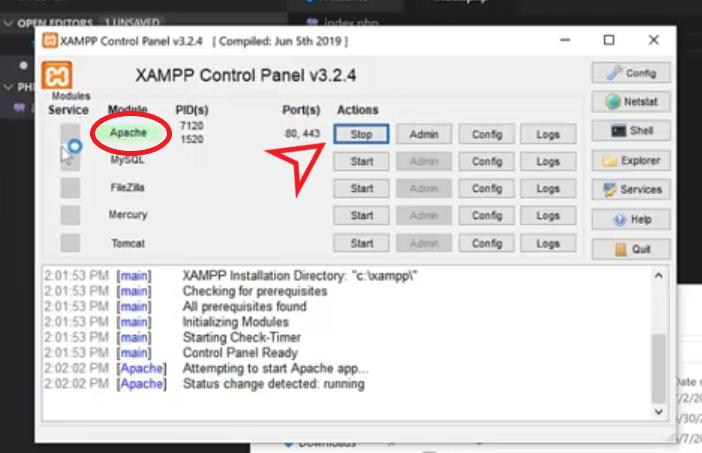 start apache server xampp control panel