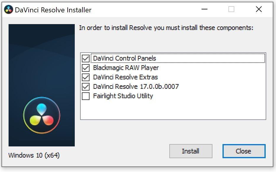 davinci resolve 17 installer dialog box