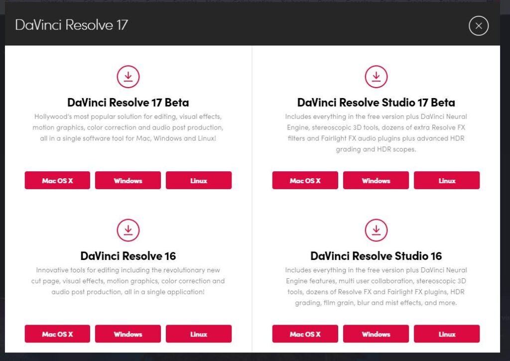 davinci resolve download versions