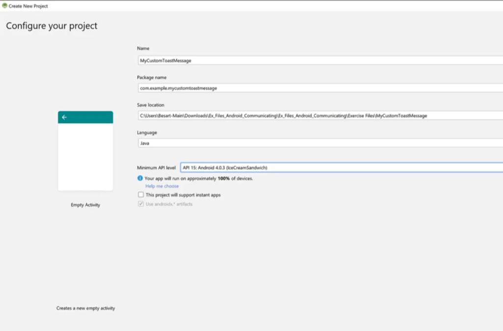 android java project custom toast message