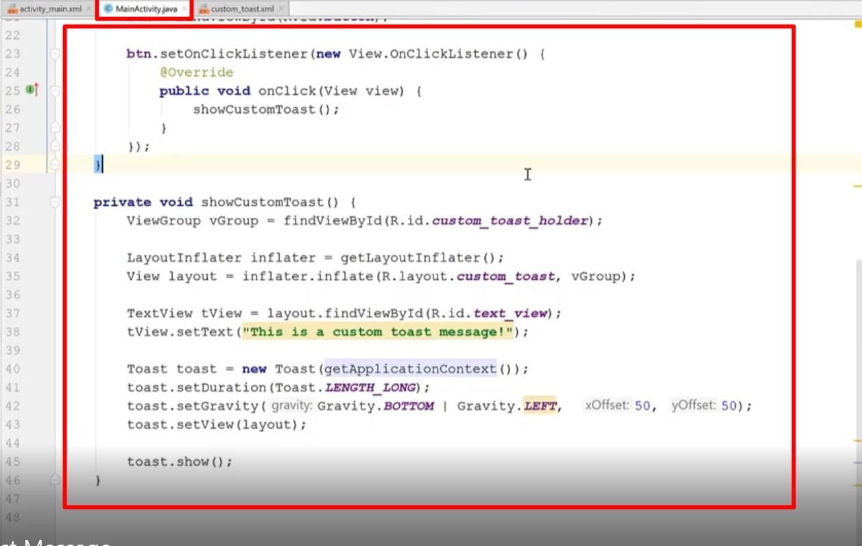 custom toast message java code part 2