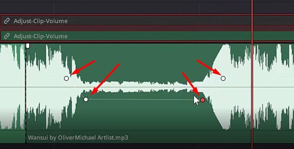 how to adjust clip volume in davinci resolve