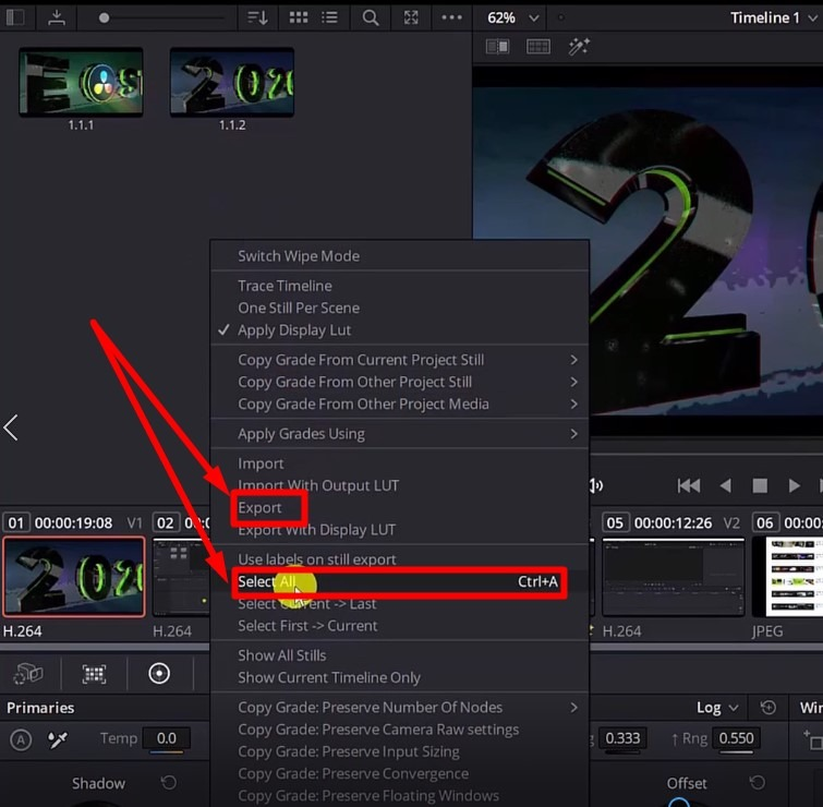 grab and export still as image out of davinci resolve 17 - color tab